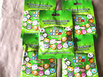 Disney * TSUM TSUM SERIES 2 * 5 PACKS * NEW 5-pin Collectible Mystery Pack Pins