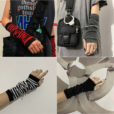 Winter Long Fingerless Knitted Arm Warmer Elbow Length Gloves Thumb Hole Gloves