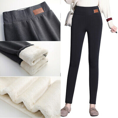 Women's Solid Winter Thick Warm Fleece Lined Thermal Stretchy Leggings Pants NEW
