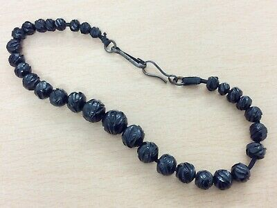 Antique Hand Carved Whitby Jet Beads 1880