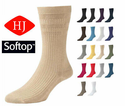 6 Pair Pack HJ91 Hall MENS SOFTOP Loose Wide Top Non Elastic Cotton Rich Socks