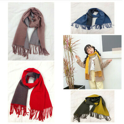 Children Kids Quality Winter Warm Double color Neck Shawl Scarf Wrap Soft Wool