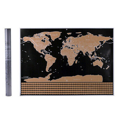 1x Scratch Off World Map Deluxe Edition Travel Journal Log Journal Poster & Flag