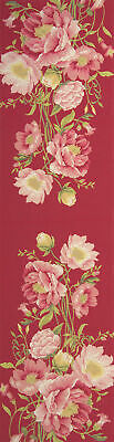 """Peonies Pink French Tapestry Table Runner H 71"""" x W 19"""" NEW"""