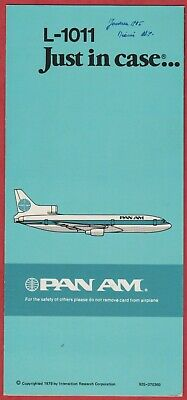 AVION - SAFETY Instructions - PAN AM - 1979 -Lockheed L-1011 TriStar - Just in c