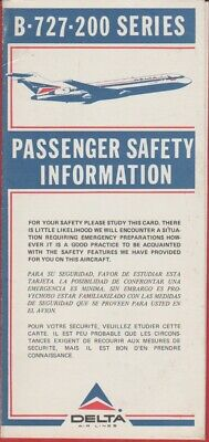AVION - SAFETY Instructions -Delta Air Lines - B-727-200 Series .