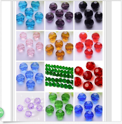 100pcs 6mm Faceted glass crystal Loose Beads Earth beads