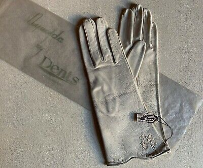 "Vintage DENT'S Real Kid Leather Gloves - ""New"" - Ivory - Priced 59/11d"