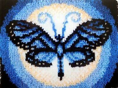 "Latch Hook  Rug Kit ""Butterfly Moon"" Uk Seller  A Blue Butterfly Rug"
