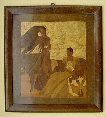 Antique French Art Nouveau / Type Deco Inlaid Picture from Wood Start 1900