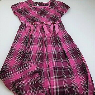 Girls BONNIE JEAN purple magenta plaid long party dress 10 satin bows Easter