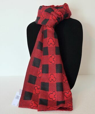 Disney Parks 2019 Plaid Scarf Black and Red Mickey Mouse Icon Holiday NWT
