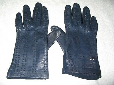 Vintage Pair Of Dents Navy Blue Leather Patterned Ladies Gloves Size 7