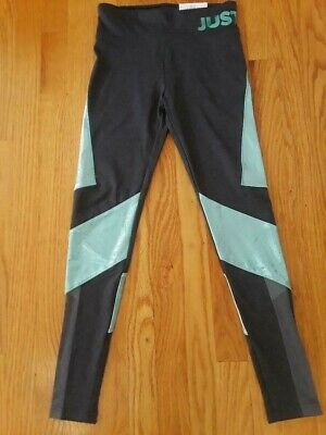Justice Girls' High Waist Color Block Logo Leggings, Size 14/16 - Mesh Accents