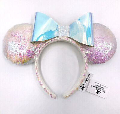 Disney Parks Sequins Rare Minnie Ears Mickey Mouse Iridescent Glitter Headband