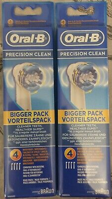 2 Pack Precision Clean Oral B Braun Replacement Electric Toothbrush Heads (8)