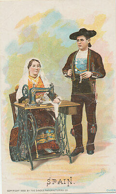D1273  Victorian Trade Card Singer Sewing Machine Country Series Spain