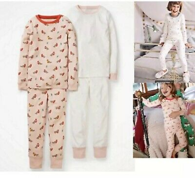 BNWT Mini Boden Twin Pack Christmas Robin Holly & Spotty Pyjamas age 10 Years