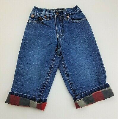 Boys BABY GAP plaid flannel lined blue jeans 18-24 months winter denim pants
