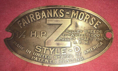 """1 1/2 H.P. BRASS Tag FAIRBANKS MORSE """"ZD"""" Hit Miss Engine Tractor Auto Antique"""