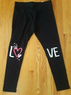 "Justice Girls' Black Full Length Leggings, Size 20 Plus - ""Love"" Graphics on Leg"