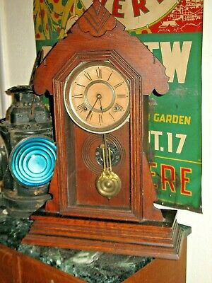 Ansonia Gingerbread Clock Original Finish Oak Case Working Time & Strike