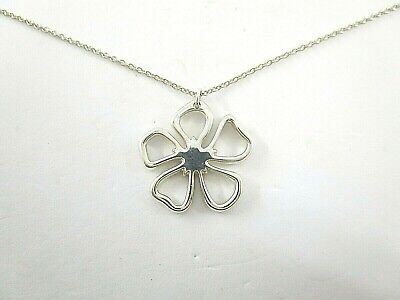 """Tiffany & Co Open Work Hibiscus Flower Necklace Pendant Sterling Silver 16"""""""