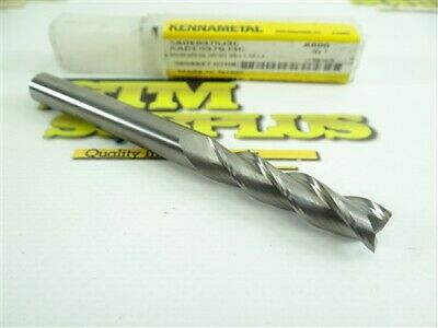 """New! Kennametal Solid Carbide 3 Flute End Mill 3/8"""" X 3/8"""" X 1-1/2"""" X 4"""""""
