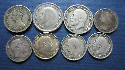 Lot Silver United Kingdom,3 Pence,Six Pence + Ten Cents 8 Piece in S to XF (1666