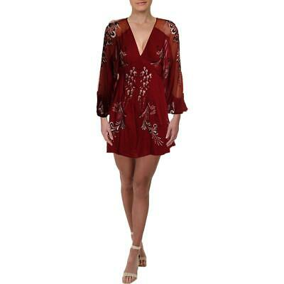 Free People Womens Red Illusion Floral Party Cocktail Dress XS BHFO 3568