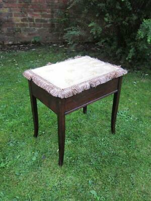 Antique Mahogany Piano Stool With Storage & Key Gold Bee Design Seat Fabric