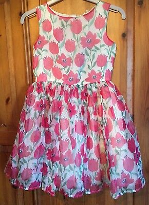 """NEXT"" Beautiful Pink Floral Sleeveless Organza Look Party Dress Age 9y Lined"