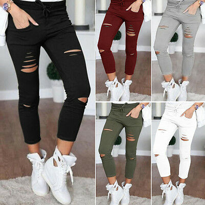 Women Skinny Slim Ripped Pants High Waist Stretch Jeans Pants Pencil Trousers 68