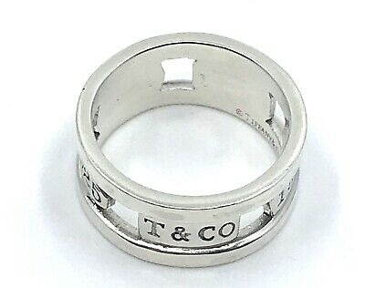 Tiffany & Co. T&Co. 925 Sterling Silver 1837 Elements Band Ring Size 8