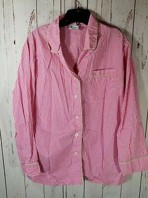 A74 Women's Lilly Pulitzer Pajama PJ Top Button-up Pink Gingham Size Large