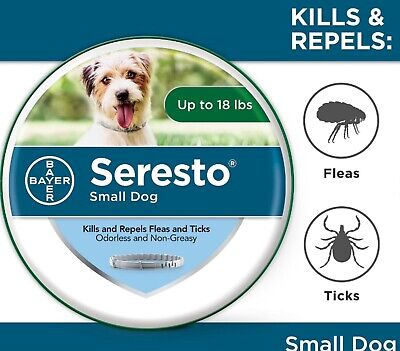 Bayer Seresto Flea and Tick Collar for Small Dog, Up to 18lbs 8 Month Protection