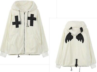 Gothic Girls Overcoat  Winter Coat Hooded Cloak Hoodies Devil Wings Harajuku