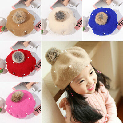 New Pearl Rabbit Fluff Ball Hat Girls Beret Hats Warm Wool Bobble Caps Kids Cap~