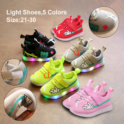 Child Kids Boys Girls Light Up LED Trainers Mesh Sneakers Running Shoes Flashing