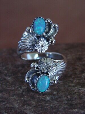 Navajo Indian Jewelry Sterling Silver Opal Adjustable Ring! HV129