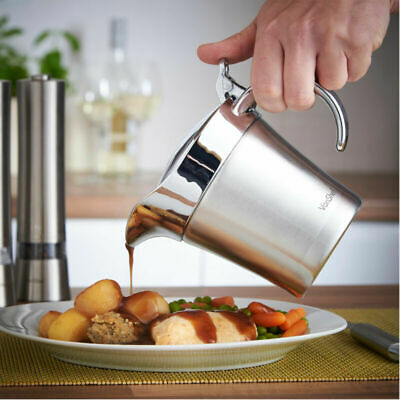 Large Stainless Steel Gravy Sauce Boat Jug 500Ml Double Insulated Cream Pourer