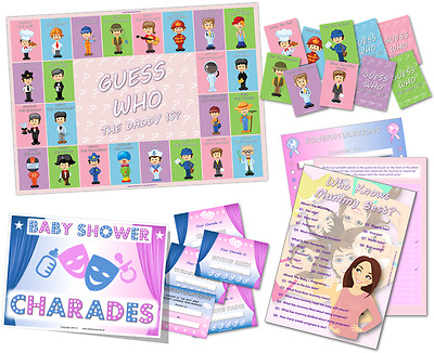 Baby Shower Game Pack - Who Knows Mummy Best - Charades - Guess Who / Unisex