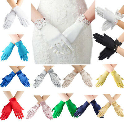 Womens Satin Gloves Lace  Party Formal Gloves Wrist Length Stretch Short Mitten
