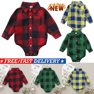 Newborn Infant Baby Boy Girl Plaid Romper Jumpsuit Bodysuit Outfits Kids Clothes