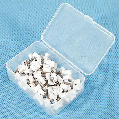 100PCS Dental Latch Type Rubber Polishing Polisher Cup Prophy Firm White Type UK