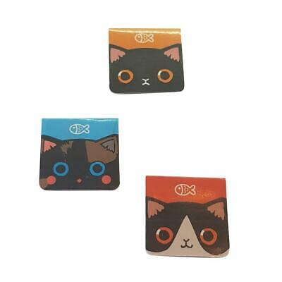 3 Pack Cute Cat Face Magnetic Bookmarks