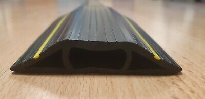 1x Cable Protector/ Ramp - 3 Channels - Hard Rubber - 2M long - Yellow Stripes