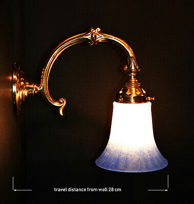 Brass vintage antique wall light sconce handmade French pigmented glass shade