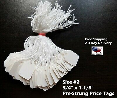 Size #2 Small Blank White Merchandise Price Tags w/ String Retail Jewelry Strung