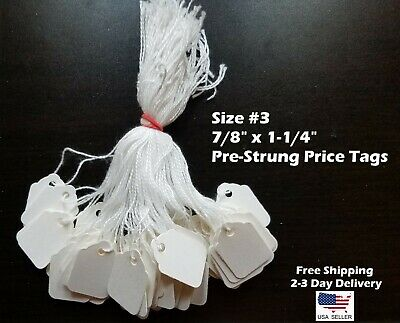 Size #3 Small Blank White Merchandise Price Tags w/ String Retail Jewelry Strung